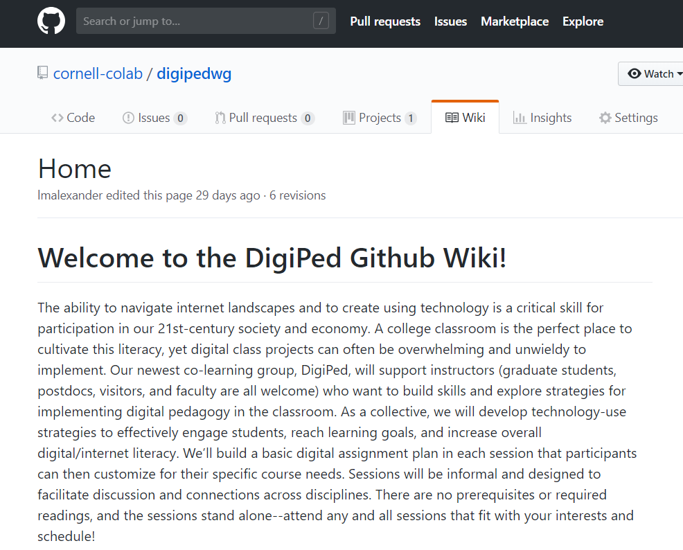 Screenshot of the DigiPed Github Wiki, explaining the mission and goals of the working group.
