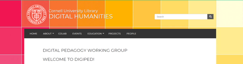 Header image of the DigiPed Working Group page on the Cornell Libraries Digital Humanities website.